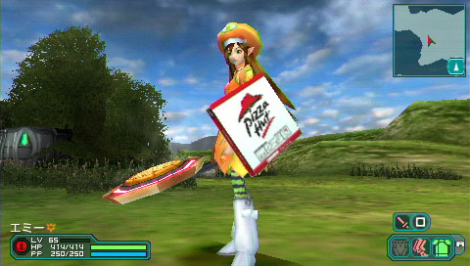 Image of a fantasy based character using a Pizza Hut box as a shield in Phantasy Star Portable 2